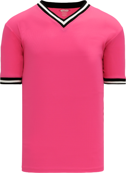 Trimmed Pullover Baseball Jersey - Pink/Black/White
