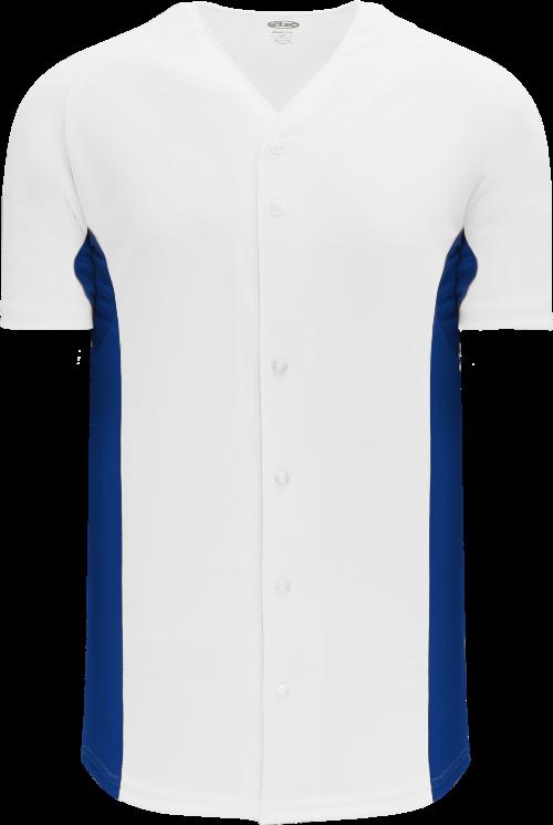 Full Button Color Blocked Baseball Jersey - White/Royal
