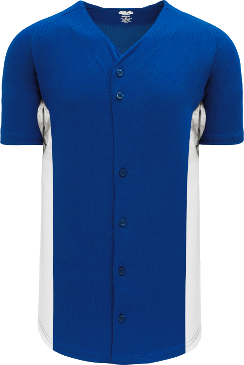 Full Button Color Blocked Baseball Jersey - Royal/White