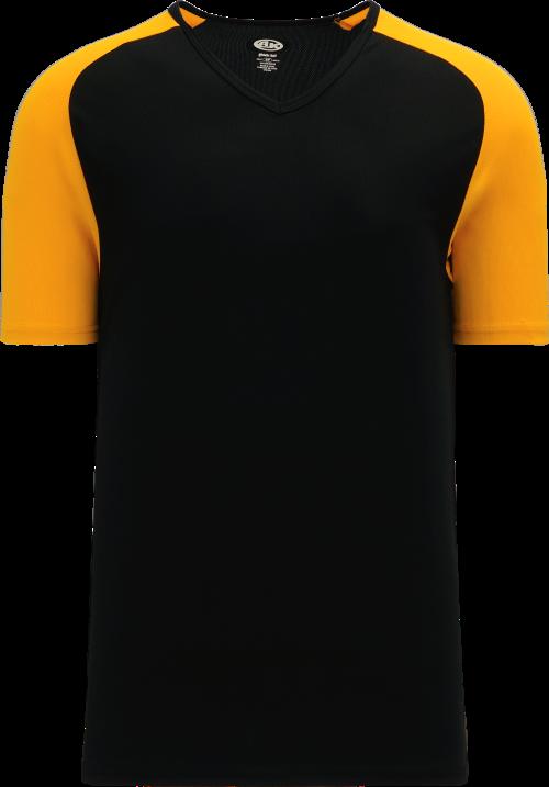 Raglan Pullover Baseball Jersey - Black/Gold