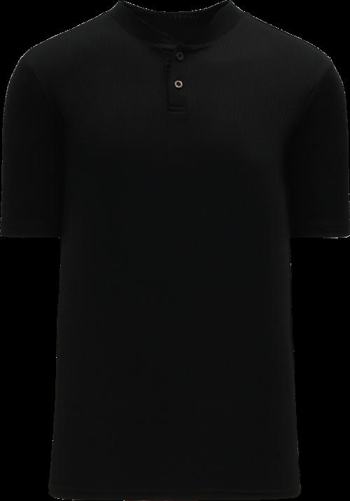 Basic Two Button Baseball Jersey - Black