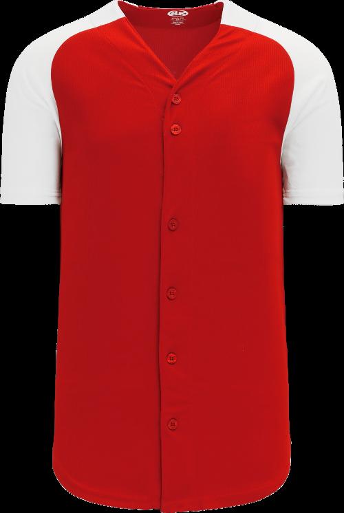 Full Button Raglan Sleeve Baseball Jersey - Red/White