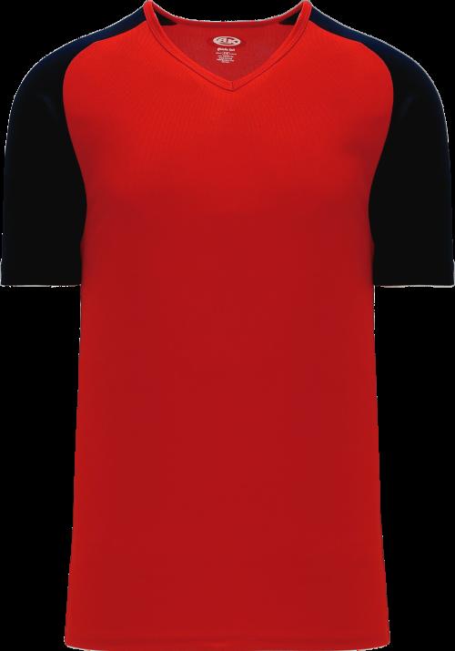 Raglan Pullover Baseball Jersey - Red/Black