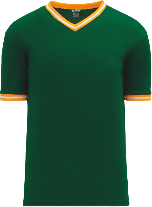 Trimmed Pullover Baseball Jersey - Forest/Gold/White