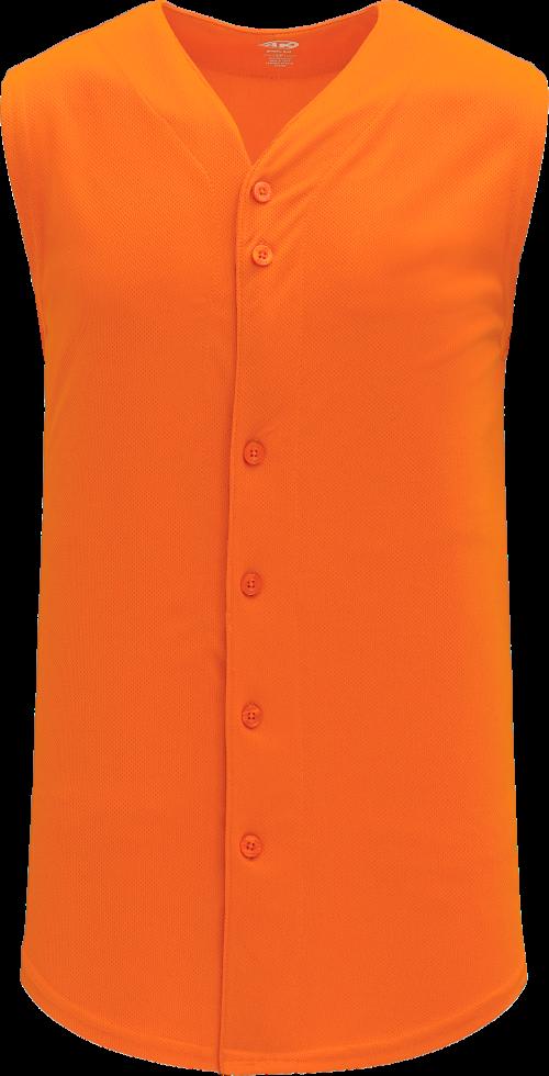 Full Button Vest Baseball Jersey - Orange