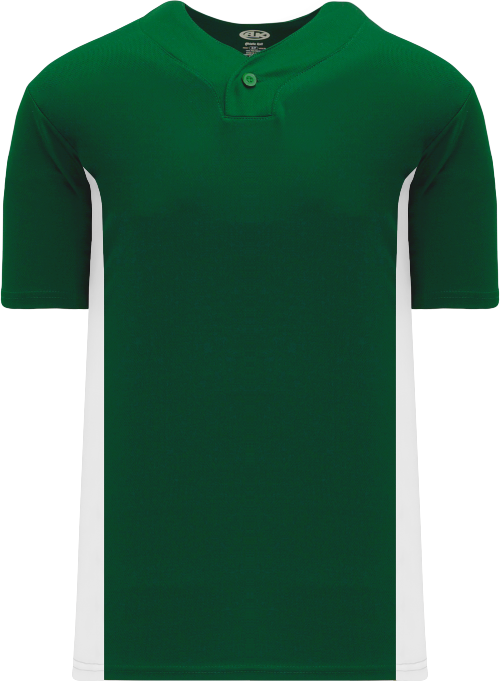 Home Run One Button Baseball Jersey - Forest/White