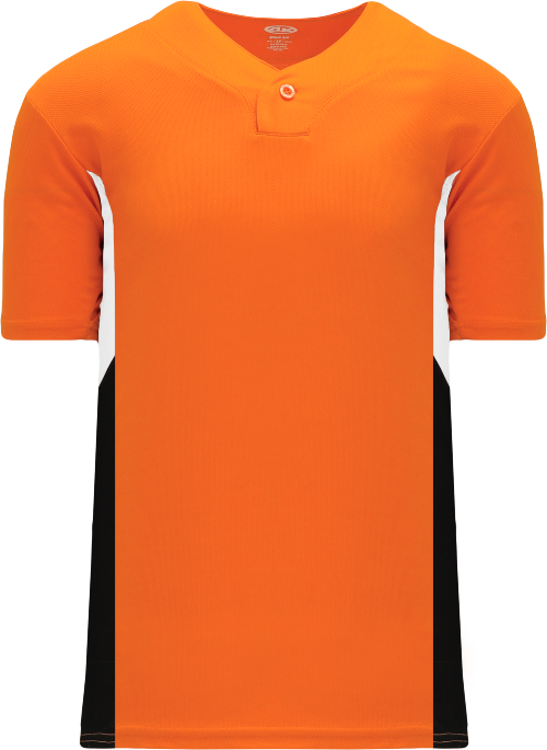 Triple One Button Baseball Jersey - Orange/White/Black