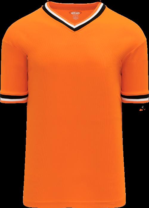 Trimmed Pullover Baseball Jersey - Orange/Black/White