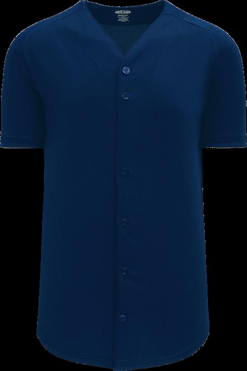 Full Button Proflex Baseball Jersey - Navy