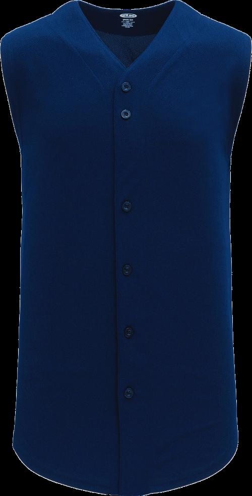Full Button Vest Baseball Jersey - Navy