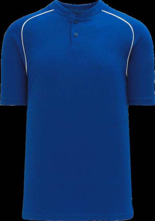 Shoulder Stripe Two Button Baseball Jersey - Royal