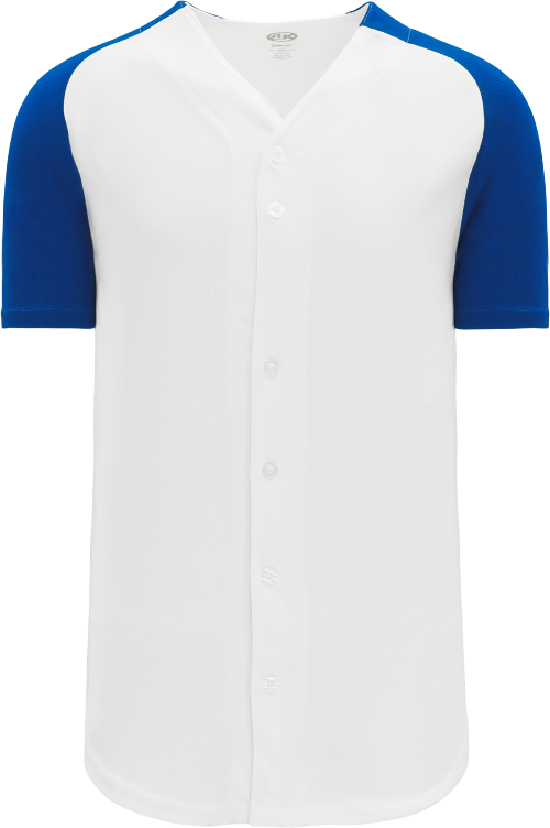 Full Button Raglan Sleeve Baseball Jersey - White/Royal