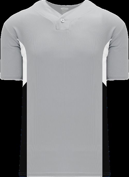 Triple One Button Baseball Jersey - Gray/White/Black