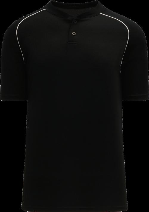 Shoulder Stripe Two Button Baseball Jersey - Black