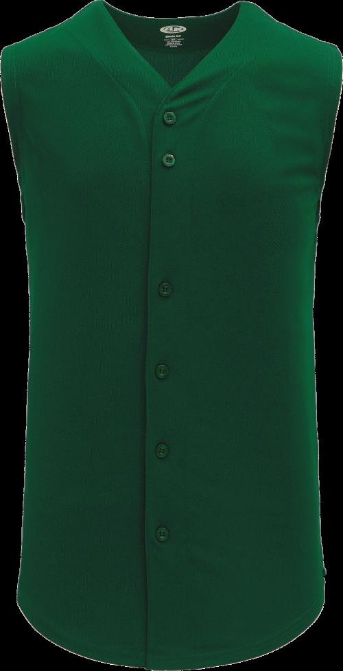 Full Button Vest Baseball Jersey - Forest
