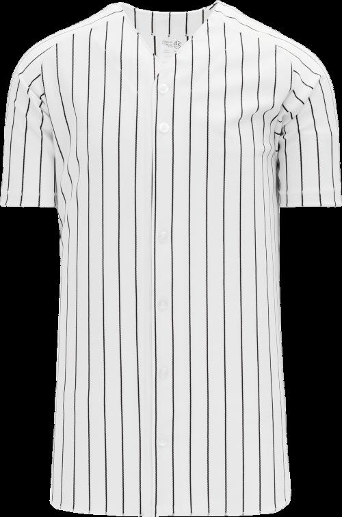 Full Button Pinstripe Baseball Jersey - White/Black