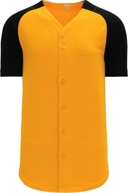 Full Button Raglan Sleeve Baseball Jersey - Gold/Black