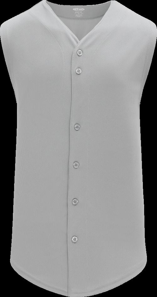 Full Button Vest Baseball Jersey - Gray