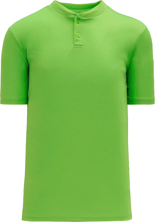 Basic Two Button Baseball Jersey - Lime Green