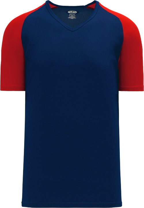 Raglan Pullover Baseball Jersey - Navy/Red