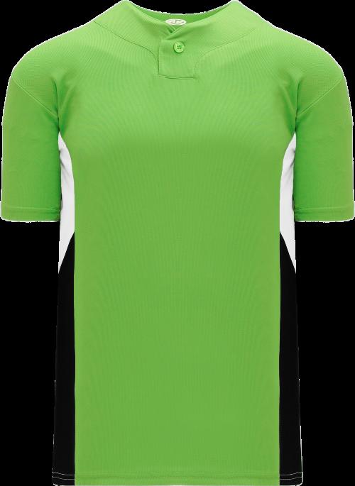 Triple One Button Baseball Jersey - Lime Green/White/Black