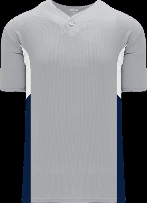 Triple One Button Baseball Jersey - Gray/White/Navy