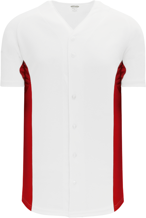 Full Button Color Blocked Baseball Jersey - White/Red